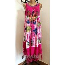 b12f6b6176ae Indické šaty ruční batika Motýl květy třásně růžová