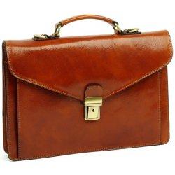 caedb55f59 taška a aktovka Vera Pelle 506 Elegantní pánská kožená aktovka A4 Hnědá