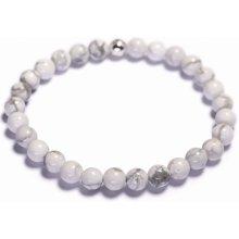 Lavaliere dámský korálkový náramek bílý howlite 01801
