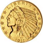 Eagle 5 USD Indian Head Historická zlatá mince Half