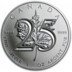 Maple Leaf Stříbrná investiční mince 25. výročí 1 Oz
