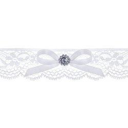 Podvazek svatební krajkový bílý s kamínkem