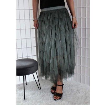 Tylová sukně s volánky zelená Vionnetta