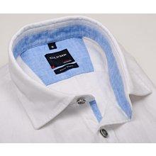 Olymp Casual Modern Fit – lněná bílá košile s vnitřním límcem a légou - krátkýrukáv