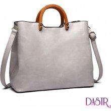Lulu Bags moderní kabelka se dřevěnými uchy Miss Lulu Světle šedá e43b78b3a5