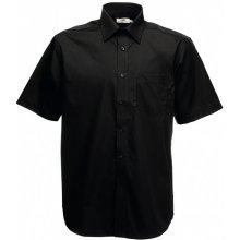 Pánská košile Poplin krátký rukáv, Černá, Fruit of the Loom, 65-116-0