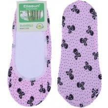 Bambusové ponožky do balerín s lebkou - růžová