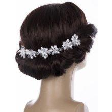 Svatební ozdoba do vlasů - čelenka velké krystalky a perly do vlasů  CV0097-01 1c9f7cbb52