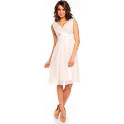 756980fba04 Kartes Moda šaty dámské KM117-4 šifon obálkový výstřih bílá od 1 292 ...