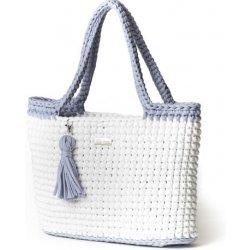 Justin Design háčkovaná kabelka Justýna bílá se světle šedou od 2 ... 2c6767264e6
