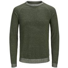 Jack Jones Pánský svetr Jjeplaited Knit Crew Neck Olive Night 914fc0823c