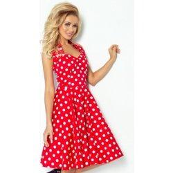 afe21b314ef0 Numoco dámské šaty Pin up rockabilly s bílými puntíky 30-12 červená ...