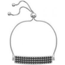 Stříbrný náramek Hot Diamonds Crystal Triple Row Black DL512