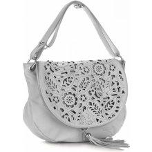 Vittoria Gotti kožená kabelka listonoška Světle šedá