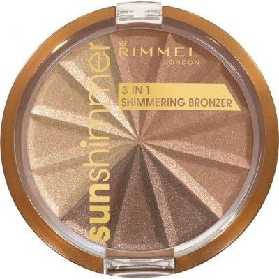 Rimmel London Sun Shimmer 3v1 Shimmering Bronzer bronzující pudr 2 Bronze Goddess 9,9 g