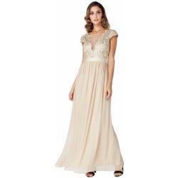 Dámské společenské šaty s krátkým rukávkem a zdobeným dekoltem dlouhé zlatá plesové  šaty 98f8467cc9