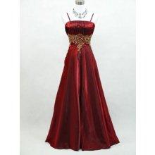 Červené dlouhé saténové šaty na ples na svatbu se zlatou nášivkou pro plnoštíhlé