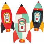 Le Toy Van dřevěná barevná raketa s astronautem