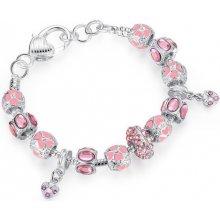 náramek růžový potažený pravým stříbrem Bamoer PA1400