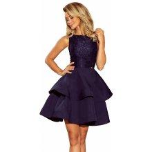 Dámské společenské šaty bez rukávů s krajkou a dvojitou sukní tmavě modrá 596951bfff0