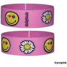 Náramek silikonový Smiley Flowers růžový šířka WR67054 CurePink