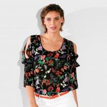Blancheporte Halenka s potiskem květin a odhalenými rameny černá/oranžová