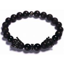 Lavaliere pánský korálkový náramek černý matný a lesklý achát korunky stopery 04601