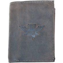 Born to be wild Velká šedá prostorná peněženka s křídlem