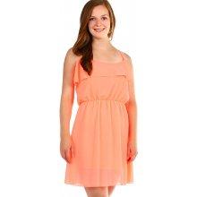 96a5bd831d19 YooY dámské šifonové šaty s volánem neon oranžová