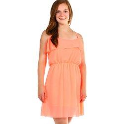 YooY dámské šifonové šaty s volánem neon oranžová od 459 Kč - Heureka.cz b7f8c5891ad