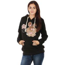 Dámská mikina Glara Dámská mikina s ušima na kapuci černá 73683 a43463cd43