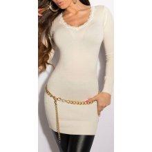 KouCla Dámský dlouhý pulovr s krajkou na výstřihu bílá 14ee64305a