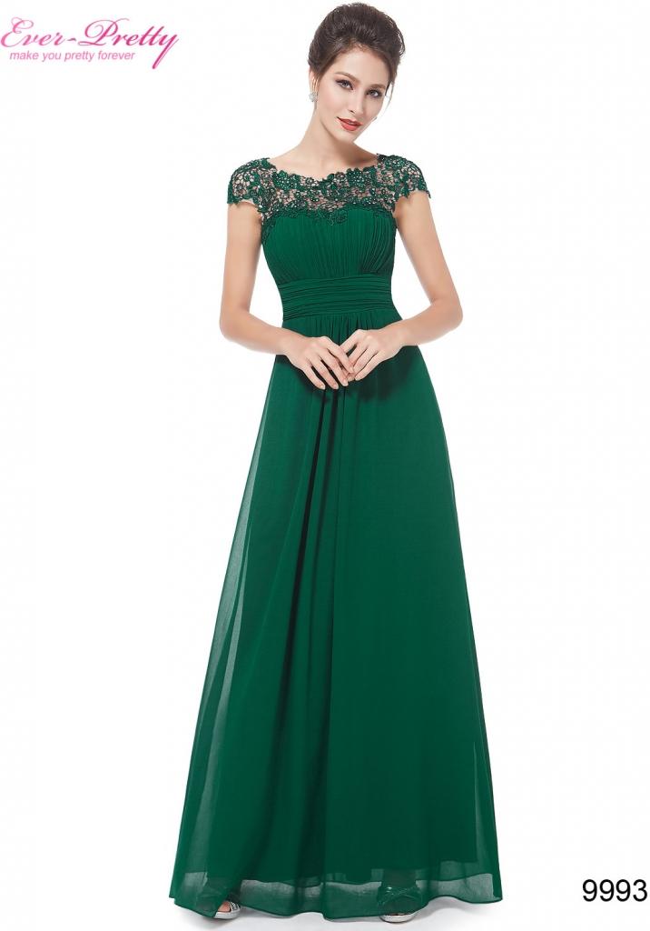 849ea94461e Ever Pretty plesové šaty s krajkou 9993 zelená