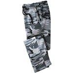 Blancheporte Meltonové kalhoty rovný spodní lem šedá vojenský vzor