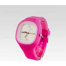Silikon Watch Square růžové s bílým ciferníkem