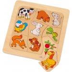 Goki Didaktická dřevěná skládačka Zvířátka a jejich potrava