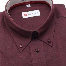 Pánská klasická košile s krátkým rukávem 270 v bordó barvě 0361c39783