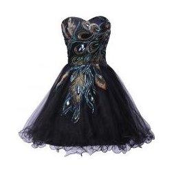 Koktejlové šaty černé s pavím vzorem alternativy - Heureka.cz 905c1af4ff