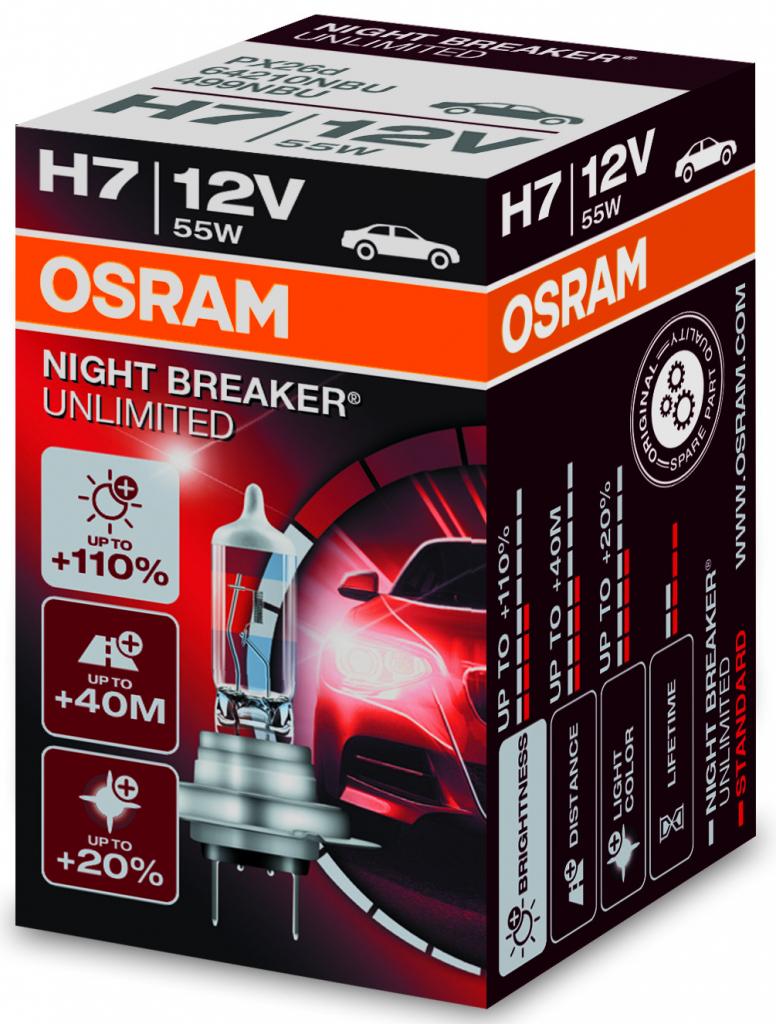 Osram Night Breaker Unlimited H7 PX26d 12V 55W