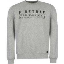 Firetrap Graphic Crew Sweater Mens Grey Marl