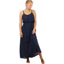 Jednobarevné maxi šaty s krajkovými ramínky 247134 tmavě modrá 62cdf17af8