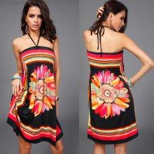 54d7007aba7 LM moda letní šaty k moři krátké s květem černá
