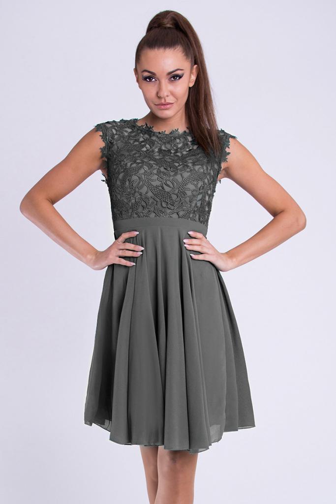 e8ad94ff233 Plesové šaty Eva   Lola dámské společenské plesové šaty šedá ...