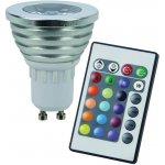 RGB LED žárovka GU10 3W + dálk.ovl set 3 ks