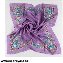 Passerini Luxusní hedvábný šátek velký Pink and blue flowers on violet 3e62d15890