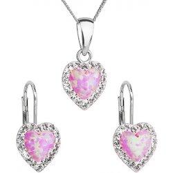3632161ee Evolution Group sada šperků se syntetyckým opálem a krystaly Swarovski  náušnice a přívěšek světle růžové srdce