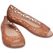 f1beb7f07b0 Crocs karamelové děrované baleríny Jelly II Flat Dark Gold