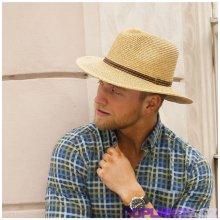 12c650c1546 Karpet Pánský klobouk se širokou krempou zdobený koženým páskem originál  70311