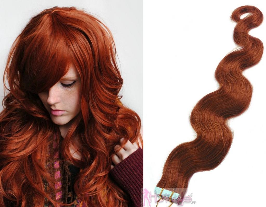 HOTstyle 60cm Tape hair   pu extension   Tape IN lidské vlasy remy vlnité –  měděná od 3 699 Kč - Heureka.cz 1be2ead71f9