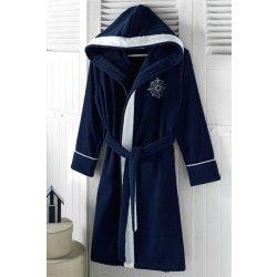 Soft Cotton dámský krátký župan Marine Lady s kapucí modrý